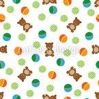 Cute Teddy Bears Seamless Vector Pattern Design