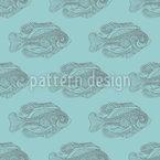 Grafische Fisch Silhouetten Nahtloses Vektor Muster