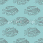 Graphical fish silhouettes Seamless Vector Pattern Design