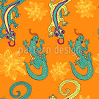 Gecko Wanderung Vektor Ornament