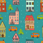 Little Winter Town Estampado Vectorial Sin Costura