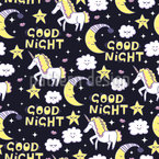 Good Night Unicorn Seamless Vector Pattern Design