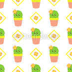 Sweet Cacti And Flowers Vector Pattern