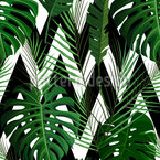 Monstera Leaves meats Zigzag Seamless Vector Pattern Design