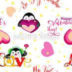Valentine Penguins Seamless Vector Pattern