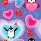 Valentine Penguins With Hearts Vector Pattern