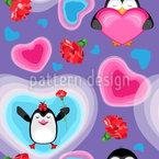 Valentine Pinguine mit Herz Nahtloses Vektormuster