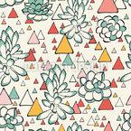抽象的なサボテンと三角形 シームレスなベクトルパターン設計