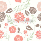Blumen Und Zapfen Nahtloses Vektormuster