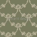English Roses Green Seamless Vector Pattern Design