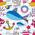 Belle vie de la mer Motif Vectoriel Sans Couture