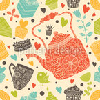 Cute Tea and Cupcakes Seamless Vector Pattern Design