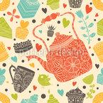 Süßer Tee und Muffins Nahtloses Vektormuster