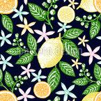 Vintage Zitronen Nahtloses Vektormuster