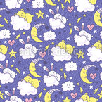 Bunny and moon Seamless Vector Pattern Design