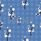 Hanami Blau Nahtloses Vektormuster