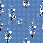 Hanami Blue Seamless Vector Pattern