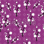 Hanami Purple Seamless Vector Pattern Design