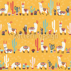 Happy lama Seamless Vector Pattern Design