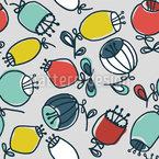 Handgezeichnete Skandinavische Ballblumen Nahtloses Vektormuster