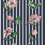 Flowers On Pinstripes Vector Ornament