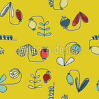Scandi Retro Blumen Nahtloses Muster