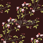 Blooming Cherry Branches Vector Ornament