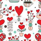 Cute love flowers Pattern Design
