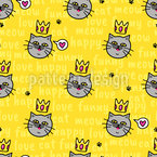 Crowned Cats Seamless Vector Pattern Design