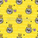 Gekrönte Katzen Nahtloses Vektormuster