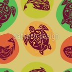 Seaturtle And Fish Of The Maori Seamless Vector Pattern Design