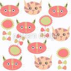 Kätzchen und Blumen Nahtloses Muster