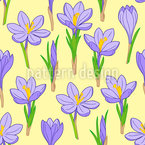 Flowering Crocuses Seamless Vector Pattern Design