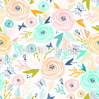 Schmetterlinge Und Rosen Nahtloses Vektormuster