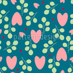 Hearts And Branches Repeating Pattern