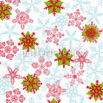 Christmas Crystals Ice-Blue Seamless Vector Pattern Design