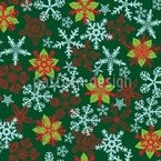 Christmas Crystals Green Seamless Vector Pattern Design