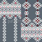 Interferência de motivos folclóricos romenos Design de padrão vetorial sem costura