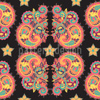 Stars and Paisley Seamless Vector Pattern Design
