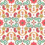 Anordnung von Paisley-Blättern und Blüten Nahtloses Vektormuster