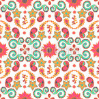 Arrangement of paisley flowers and leaves Seamless Vector Pattern Design