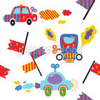 おもちゃの車 シームレスなベクトルパターン設計