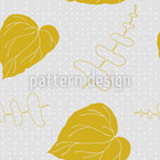 Mustard yellow leaves and polka dotThe veins of the leaves Design Pattern