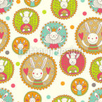 Bunny in flourishes frame Seamless Vector Pattern