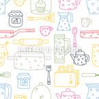 Silhouetten von Küchensachen Nahtloses Vektormuster