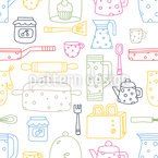 Silhouettes of kitchen things Seamless Vector Pattern Design