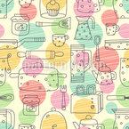 Küchensachen und verzierte Bälle Designmuster