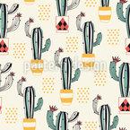 Kaktus in einem Topf Nahtloses Vektormuster