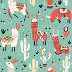 Llamas and cactus in a pot Seamless Vector Pattern