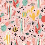 Schöne Kaktuswüste Nahtloses Vektormuster